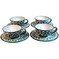 Roger Picault Vaulluris Hand-Painted Cups and Saucers
