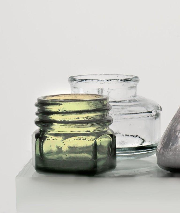 Small Bottles 17, Square Still Life Photograph of Glass Bottles on White For Sale 3