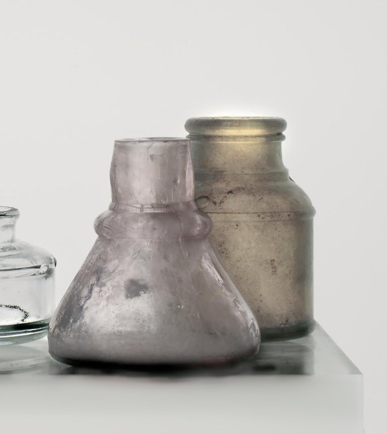 Small Bottles 17, Square Still Life Photograph of Glass Bottles on White For Sale 4