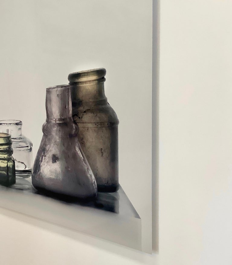Small Bottles 17, Square Still Life Photograph of Glass Bottles on White For Sale 5