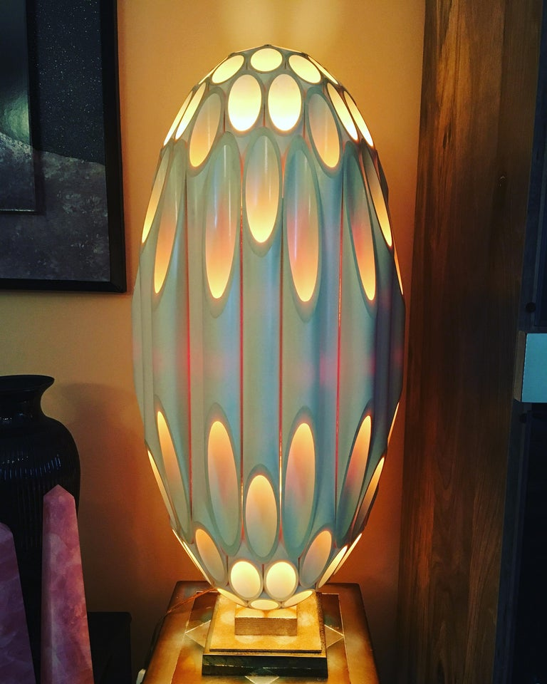 Impressive Roger Rougier Post Modern design table lamp. Fully signed on base and Canadian maple leaf label under base. This is more than just a table lamp, but a statement. Amazing warm display of light when it is lit up. Circa 1970-80.   Very good