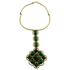 Roger Scemama Vintage 1970s Green Malachite Glass Pendant Necklace