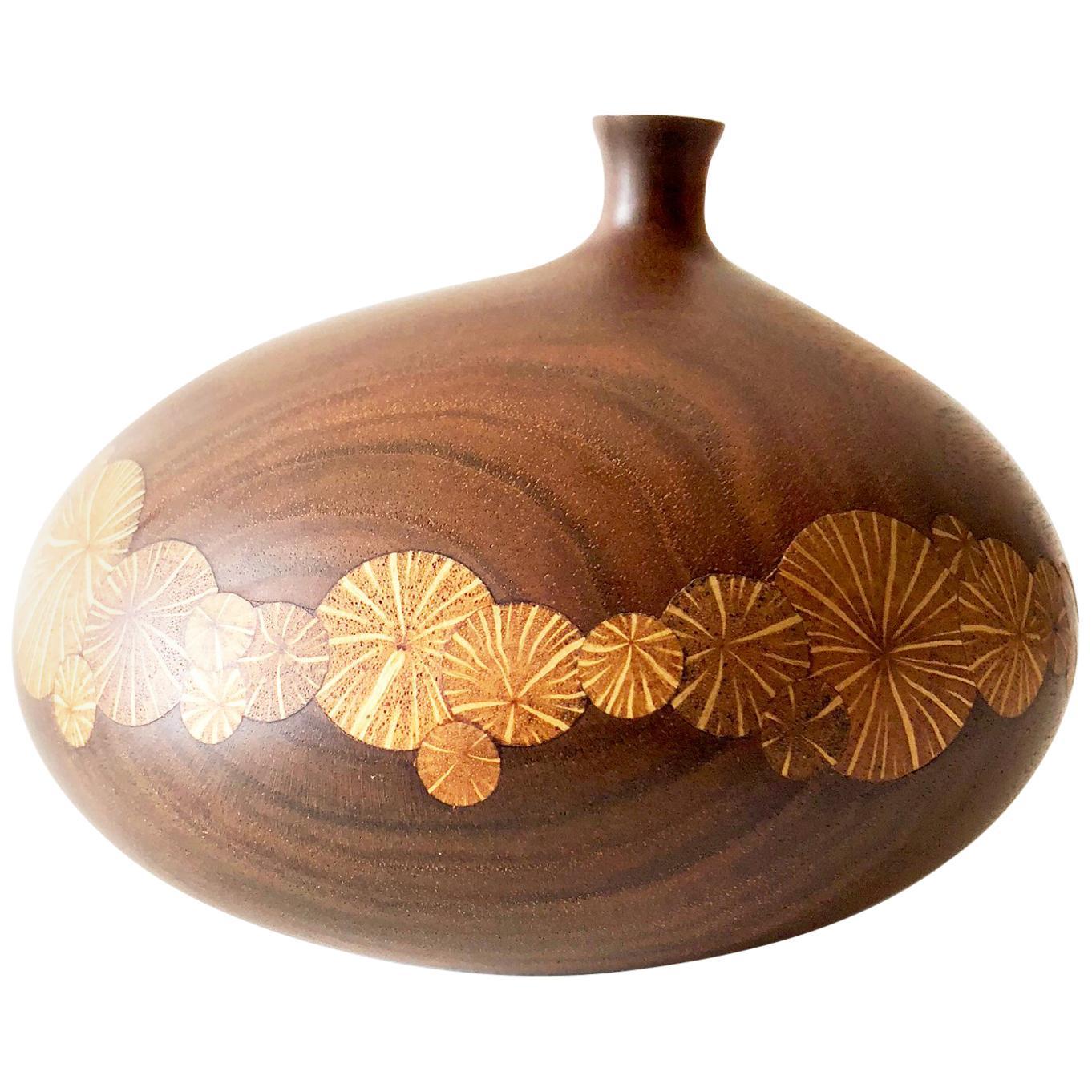 Roger Sloan Walnut Weed Pot Thin Edge Inlaid Vase