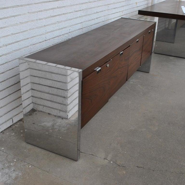 Mid-Century Modern Roger Sprunger for Dunbar 6.5 ft Rosewood Chrome Credenza For Sale