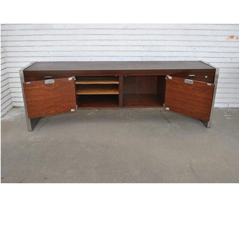 American Roger Sprunger for Dunbar 6.5 ft Rosewood Chrome Credenza For Sale