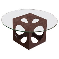 Roger Sprunger for Dunbar Walnut Cube Glass Top Cocktail Table, 1960s