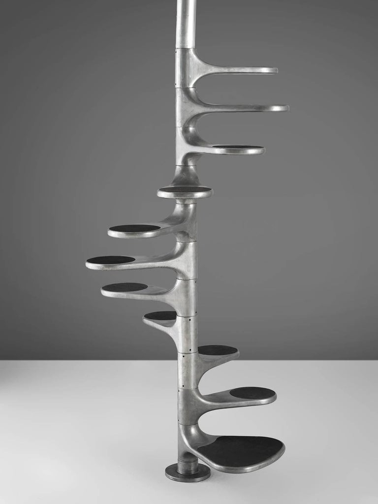Roger Tallon for Galerie Lacloche, 'Helicoid' staircase, aluminum, France, design 1964, production 1960s.