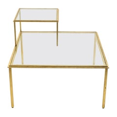 Roger Thibier Gilt Wrought Iron Glass Coffee or End Table, 1960s