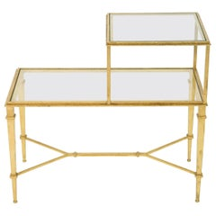 Roger Thibier Gilt Wrought Iron Glass Two-Tier End Table 1960s