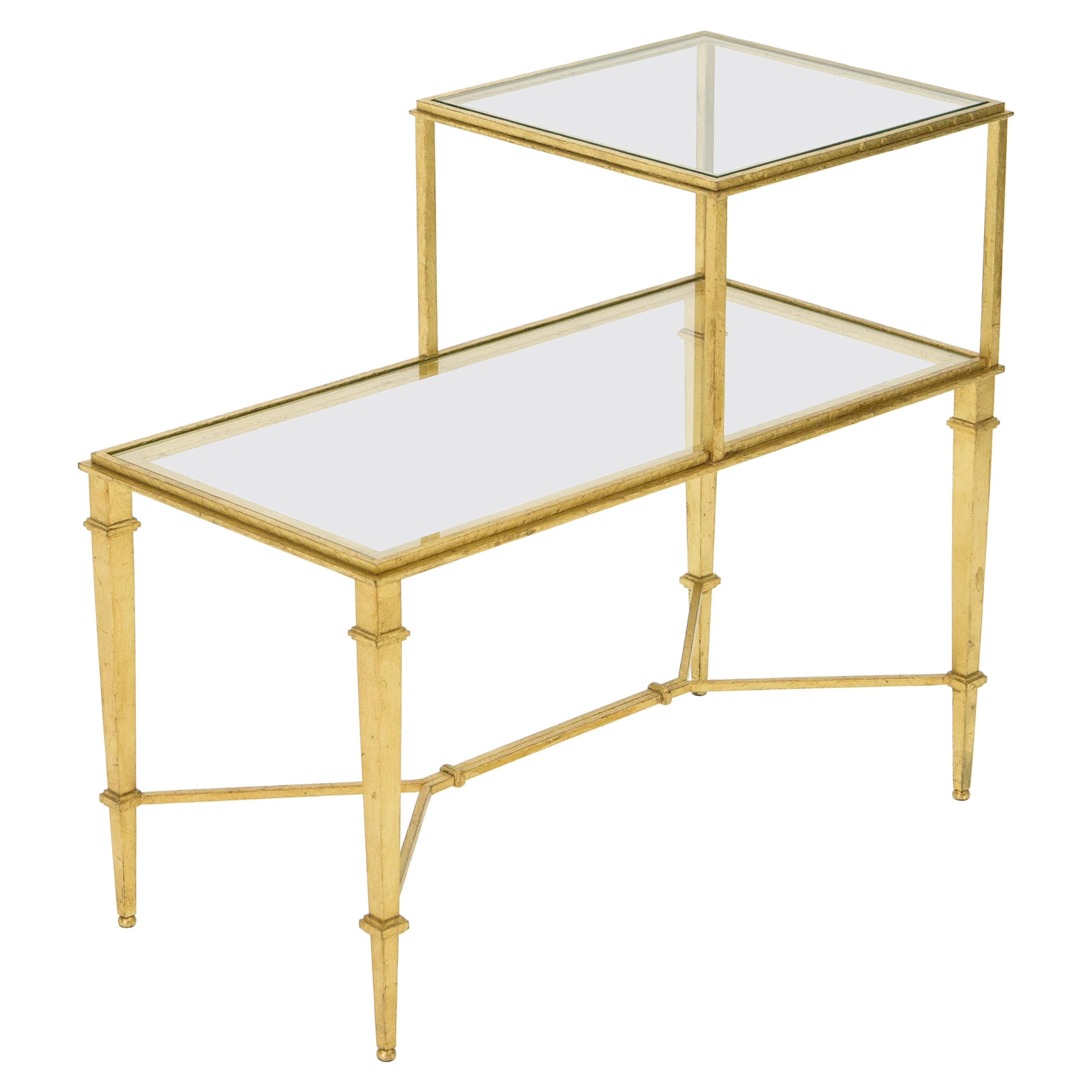 Roger Thibier Gilt Wrought Iron Glass Two-Tier End Table, 1960s