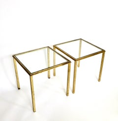 Roger Thibier Pair of French Gilded Iron Side Tables