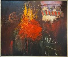 Large Abstract Oil Painting Belgian American Artist Roger Van Ouytsel Menorah