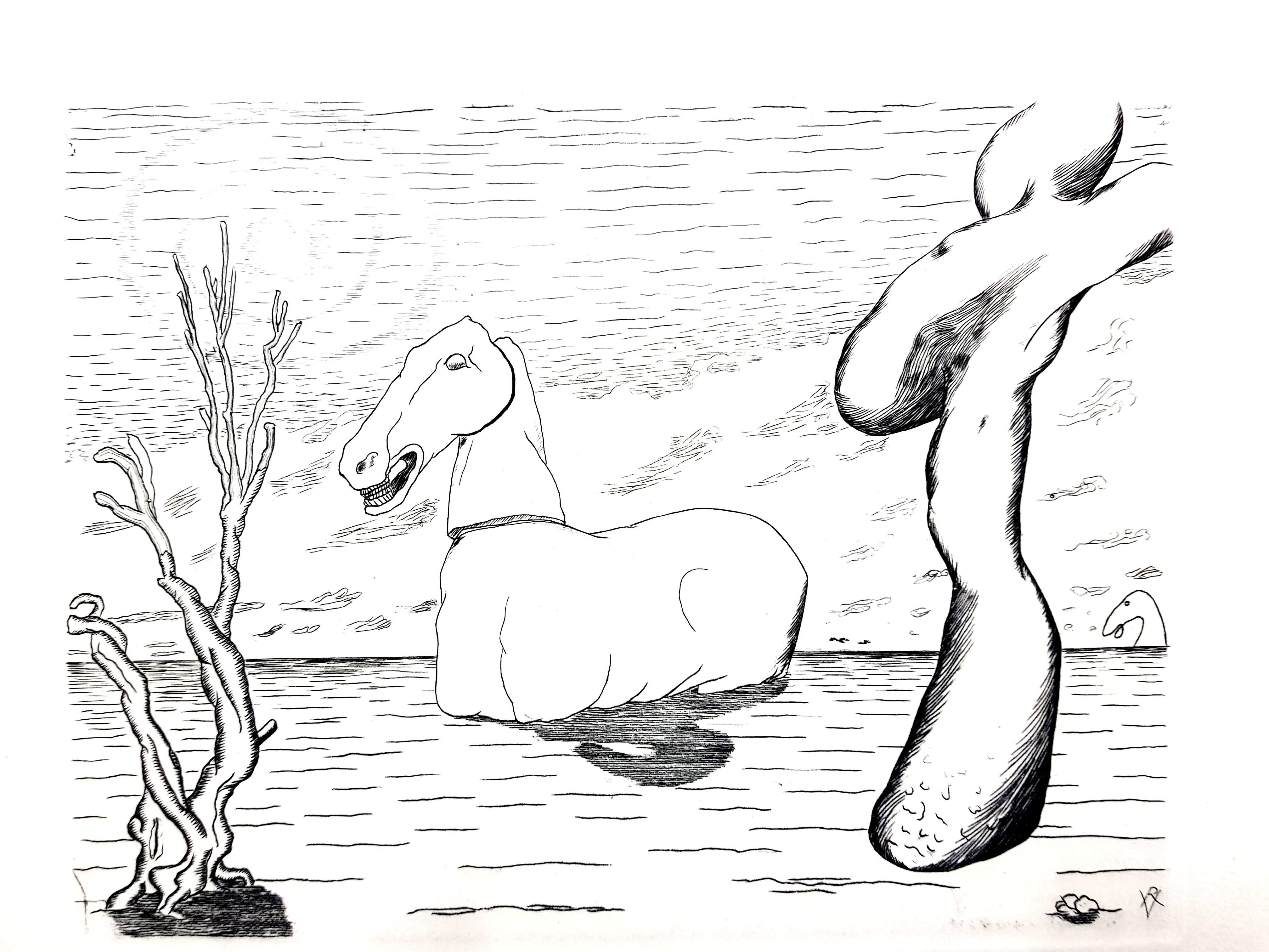 Roger Vieillard - Surrealist Horse - Original Etching