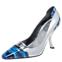 Roger Viver Sliver/Blue Glitter Leather Pointed Toe Pumps Size 36