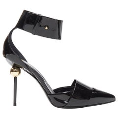 ROGER VIVIER black patent gold pearl high heel ankle strap dorsay pump EU37.5