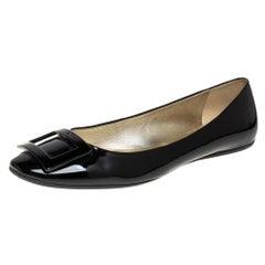 Roger Vivier Black Patent Leather Trompette Ballet Flats Size 41