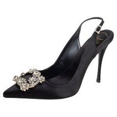 Roger Vivier Black Satin Crystal-Embellished Slingback Pumps Size 37.5