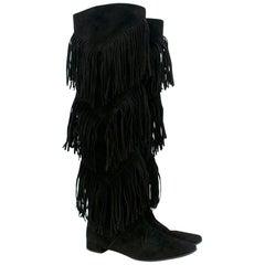 Roger Vivier Black Suede Over the Knee Fringe Boots 37.5