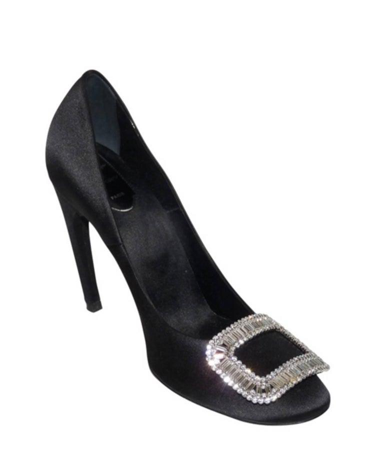 Roger Vivier Black Swarovski Crystal Buckle Wedding Heels Shoes 40  In Good Condition For Sale In Saumur, FR