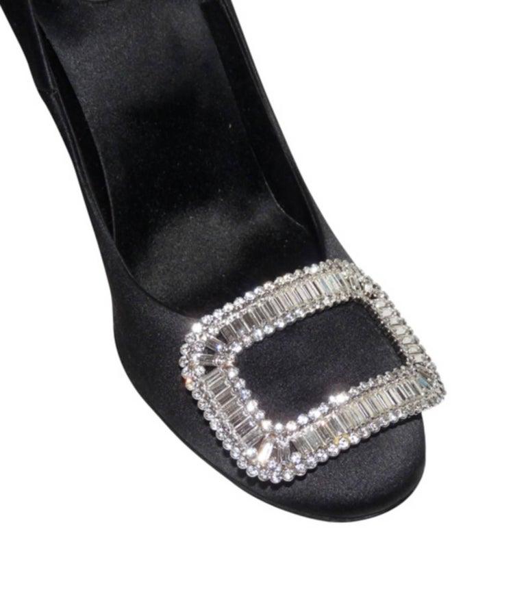 Women's Roger Vivier Black Swarovski Crystal Buckle Wedding Heels Shoes 40  For Sale