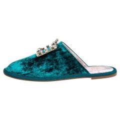 Roger Vivier Green Velvet Hotel Vivier Crystal-Embellished Flat Slippers Size 37