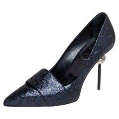Roger Vivier Metallic Blue Crackle Leather Pointed Toe Pumps Size 35