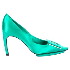 ROGER VIVIER mint green satin Pointed-Toe Buckle Pumps Shoes 38