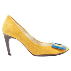 ROGER VIVIER mustard yellow suede blue square buckle round toe pump EU35