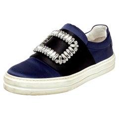 Roger Vivier Navy Blue/Black Sneaky Viv Embellished Slip On Sneakers Size 35