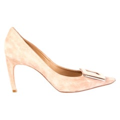 ROGER VIVIER nude suede Pointed-Toe Buckle Pumps Shoes 38.5