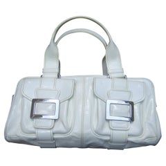 Roger Vivier Paris White Patent Leather Chrome Buckle Italian Handbag c 1990s