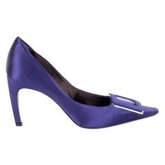 ROGER VIVIER purple satin Pointed-Toe Buckle Pumps Shoes 38.5