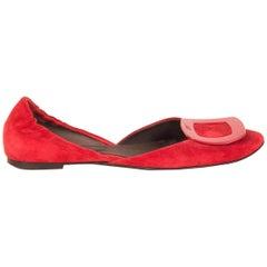 ROGER VIVIER red suede D'ORSAY Ballet Shoes 36