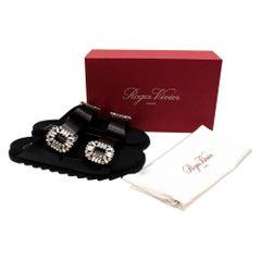 Roger Vivier Slidy Viv Crystal-embellished Leather Slides - Size EU 40