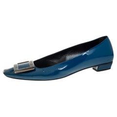 Roger Vivier Teal Blue Patent Leather Trompette Ballet Flats Size 38.5