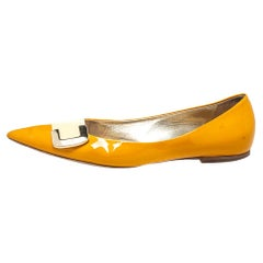 Roger Vivier Yellow/Cream Patent Leather Ballet Flats Size 39