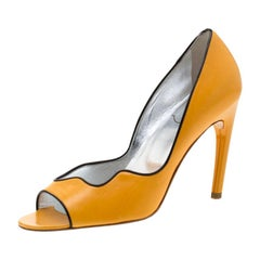 Roger Vivier Yellow Leather Peep Toe Pumps 37.5
