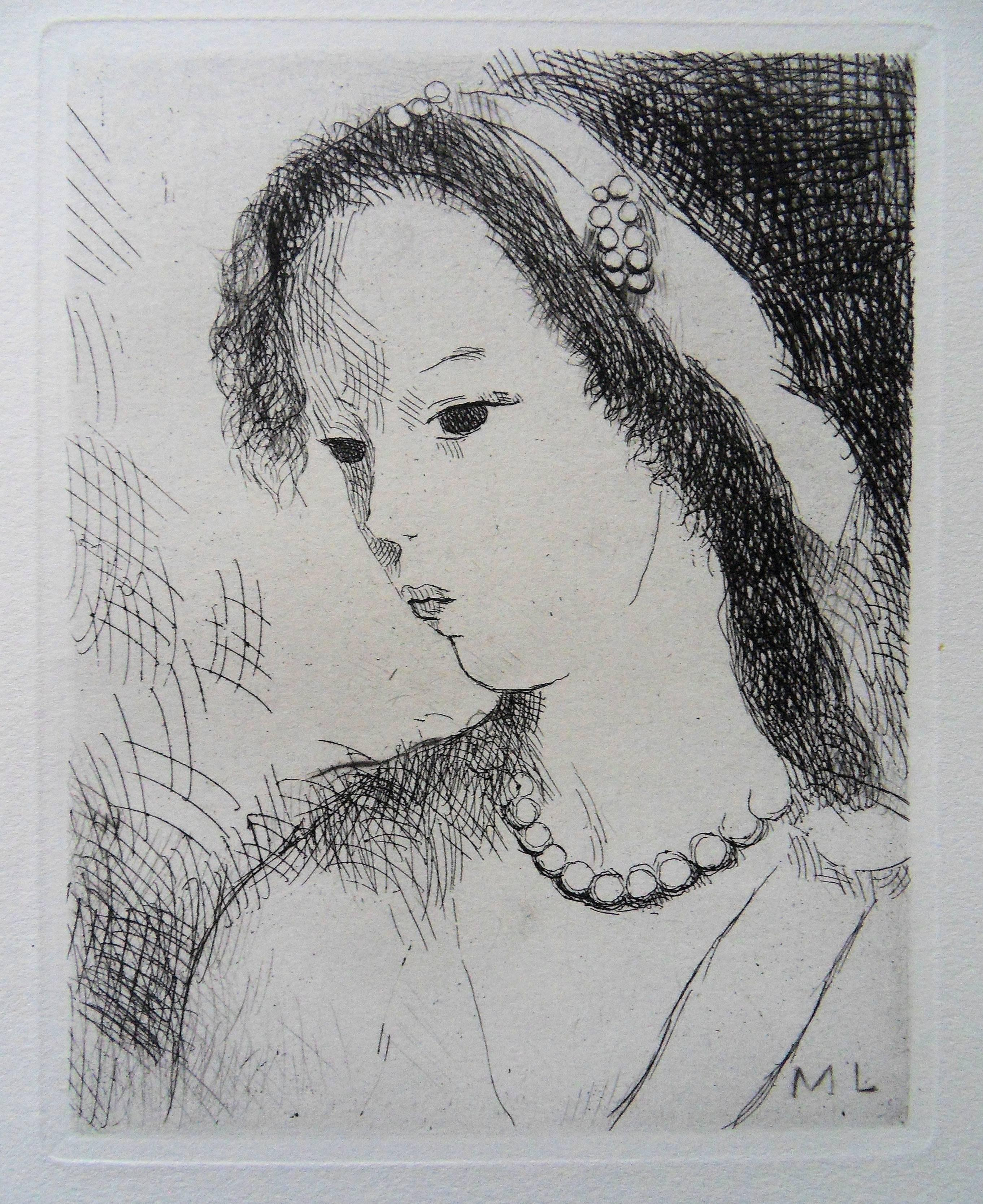 Young Girl with Pearl Necklace - Original etching, 1943