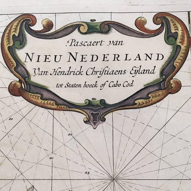 Pascaert van Nieu Nederland Van Hendrick Christiaens Eyland tot Staten hoeck of Cabo Cod, by Arent Roggeveen, published in circa 1675, an extremely rare first edition chart printed on paper with original, period hand coloring, showing Cape Cod,