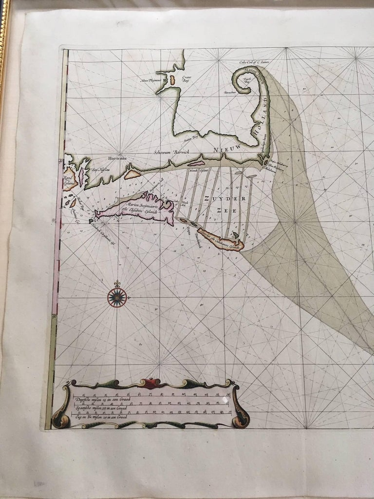 Other Roggeveen's Hand Colored Chart of Cape Cod and the Islands, 1675 For Sale