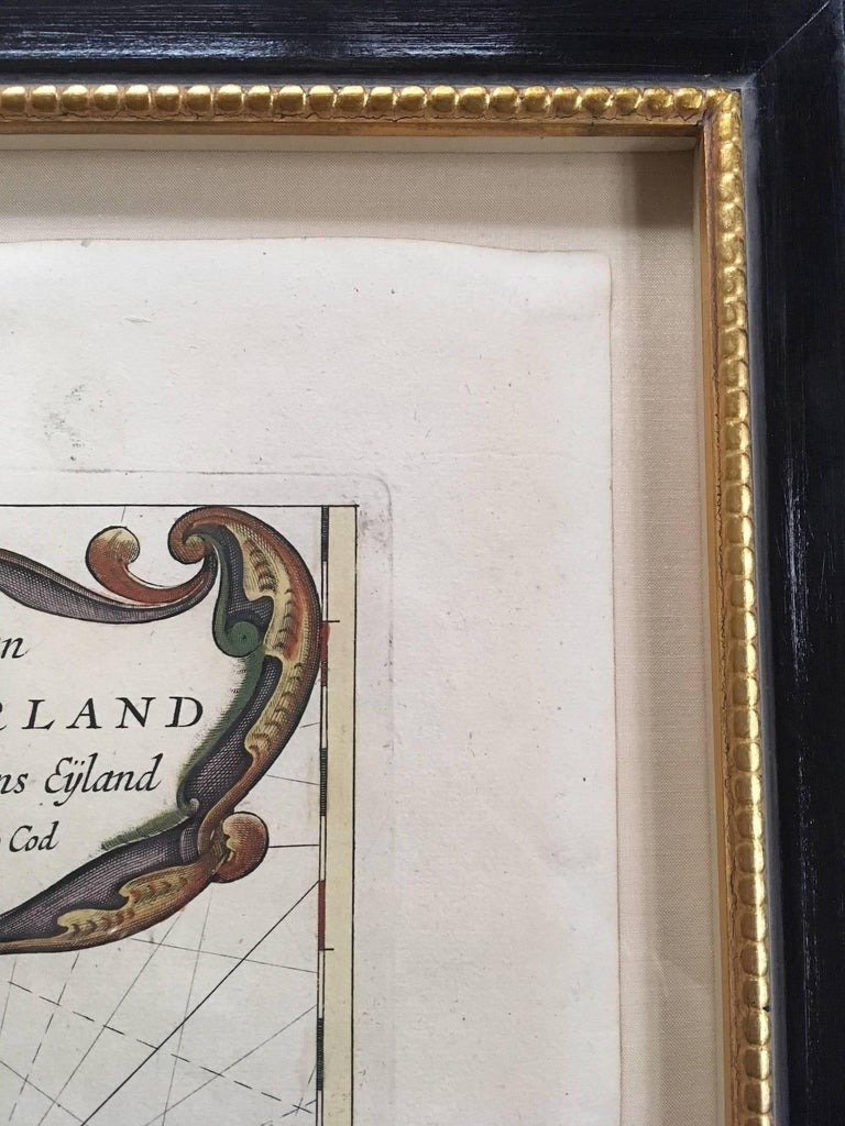 Late 17th Century Roggeveen's Hand Colored Chart of Cape Cod and the Islands, 1675 For Sale