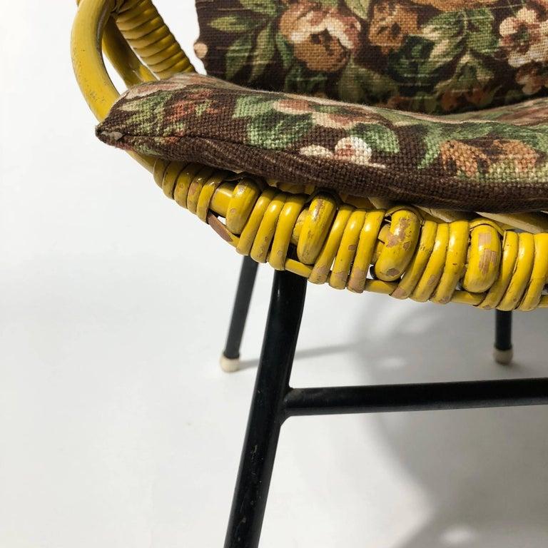 Steel Rohé Noordwolde Children's Chair 1950s Original Paint and Cushion For Sale