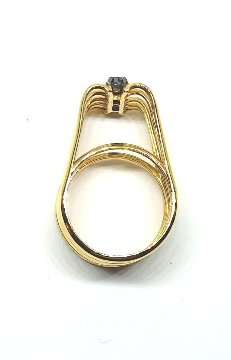 Black Rose Cut Diamond One of a Kind 18 Karat Yellow Gold Ring For Sale 6
