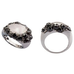 Black Rosecut White Diamond 18 Karat White Gold One of a Kind Dome Ring