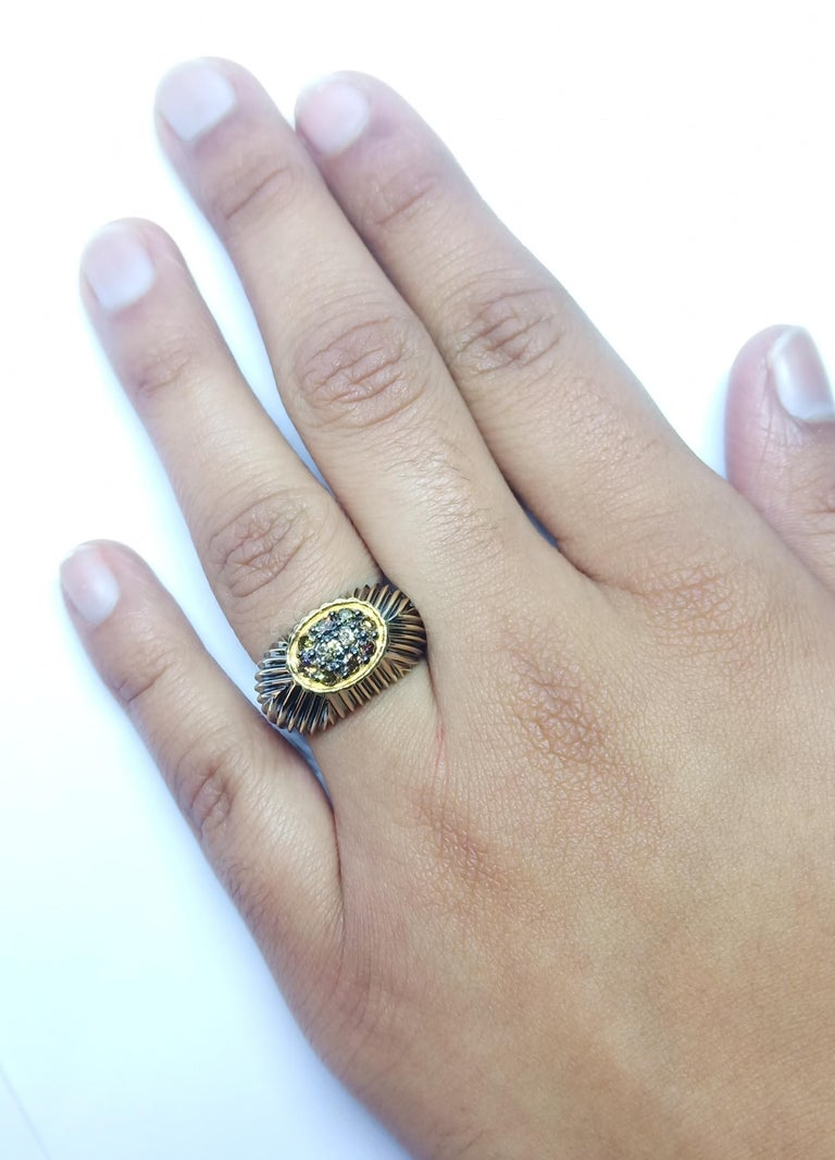 Contemporary One of a Kind Fashion Ring in Yellow Gold with Brown Diamond For Sale 9