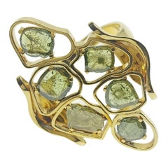 Green Colored Diamond Slices One of a Kind 18 Karat Green Gold Ring