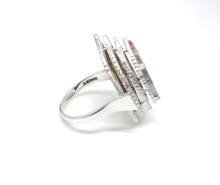 Women's Contemporary Grey Diamond Slice One of a Kind 18 Karat White Gold Fashion Ring For Sale