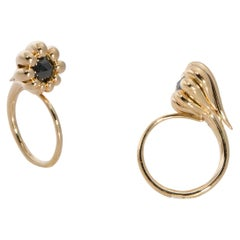 One of a Kind 18 Karat Yellow Gold Ring with Black Rose Cut Diamond
