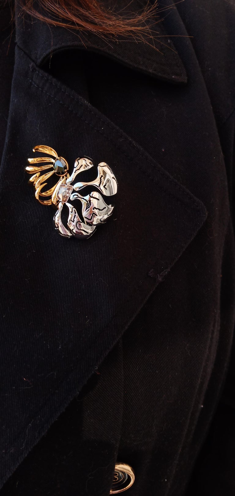 One of a Kind Black Brown Rose Cut Diamond Yellow White Gold Brooch For Sale 10