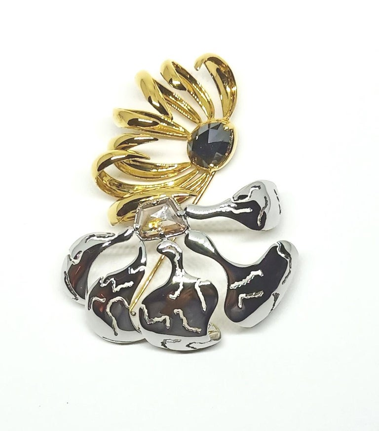 Contemporary One of a Kind Black Brown Rose Cut Diamond Yellow White Gold Brooch For Sale